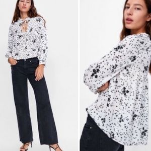 NWT Zara Star Floral Smocked Oversized Blouse S